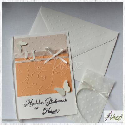 Glückwunschkarte (Silber- / Gold-) Hochzeit mit Initialen, + Geldtütchen