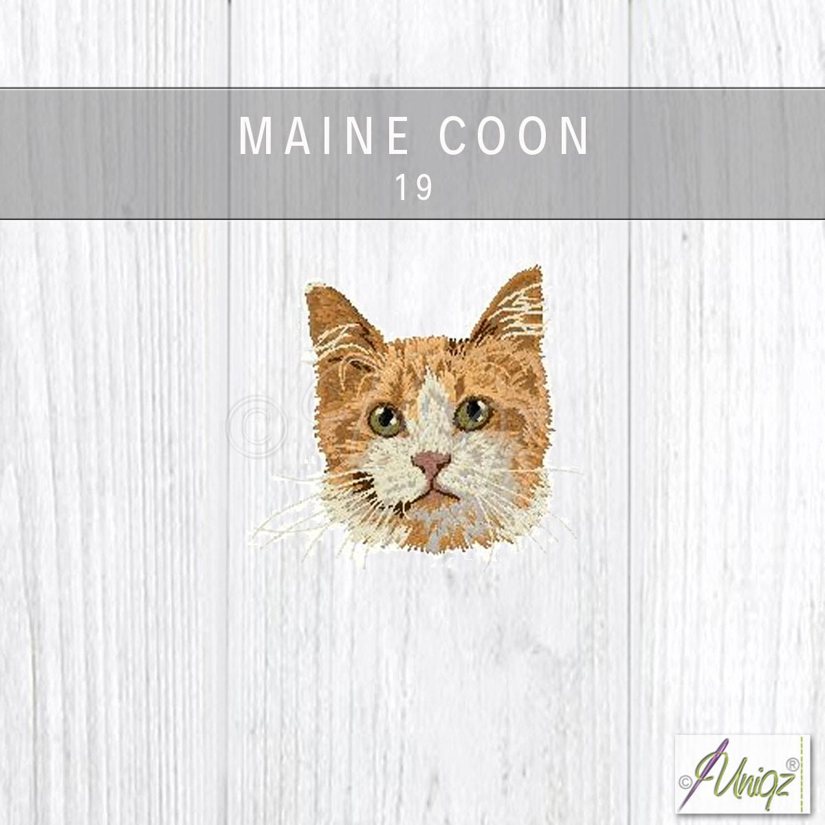 Main Coon Katze gestickt