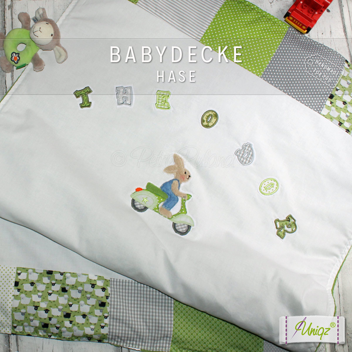 Baby- und Kinderdecke, mit Häschen Applikation