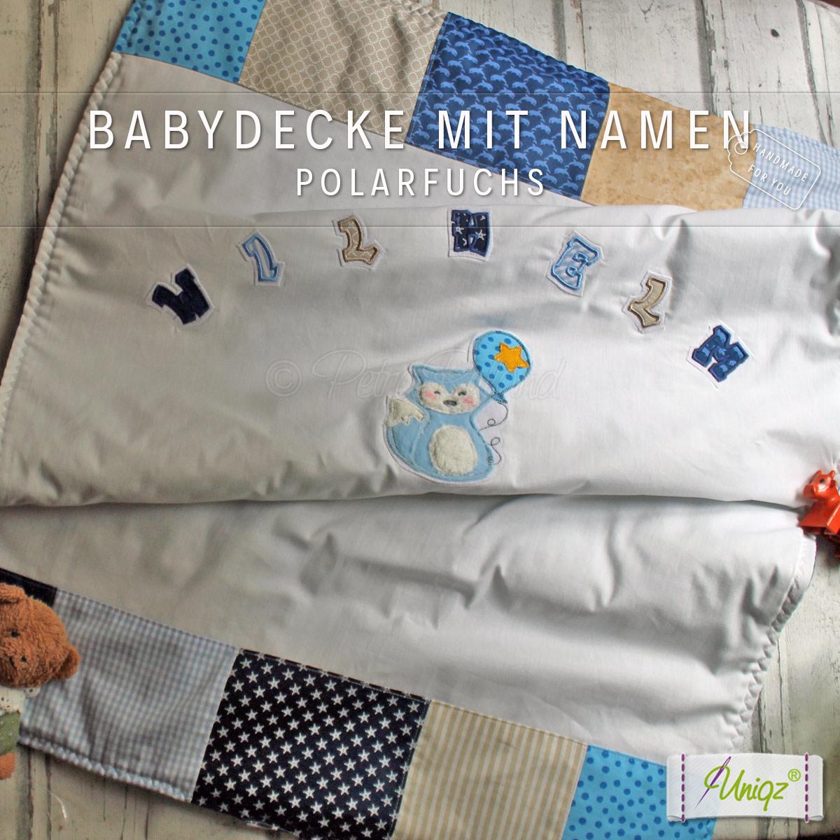 Baby- und Kinderdecke, mit Polarfuchs Applikation