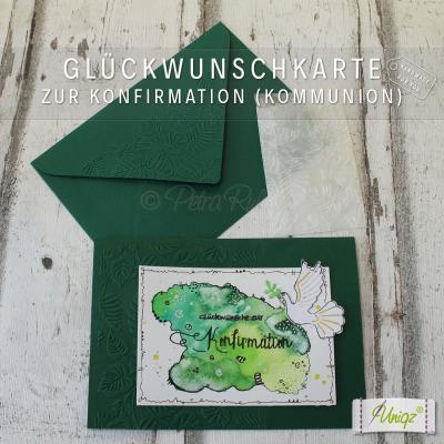Glückwunschkarte zur Konfirmation/Kommunion Aquarell Taube