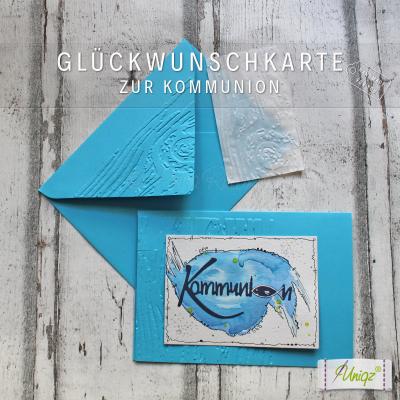 Glückwunschkarte zur Kommunion Schriftzug Aquarell blau
