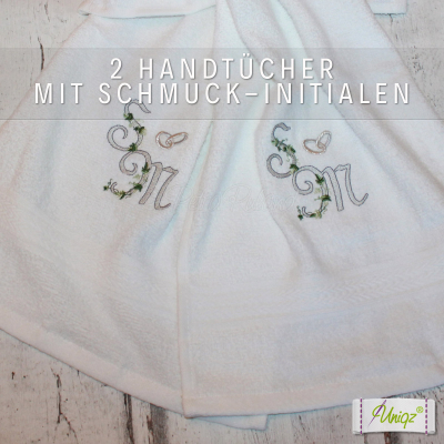2 Frottier-Handtücher mit Schmuck - Initialen zur Hochzeit