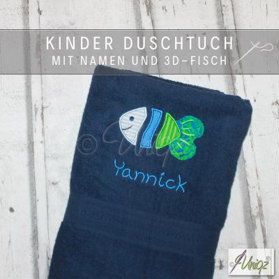 Duschtuch für Kinder mit Namen und Fisch