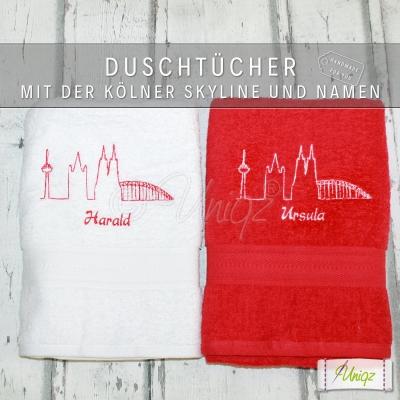 2 Duschtücher mit der Kölner Skyline