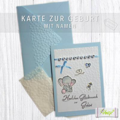 Glückwunschkarte zur Geburt oder Taufe, mit Namen und Elefant