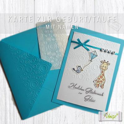 Glückwunschkarte zur Geburt oder Taufe, mit Namen und Giraffe