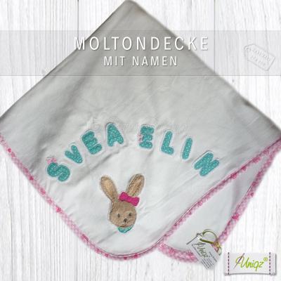 Babydecke mit Häschen und Namen, Molton